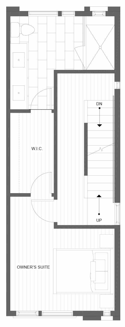 Third Floor Plan of 1105F 14th Ave in the Corazon Central Townhomes