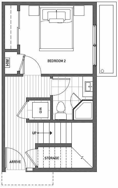First Floor Plan of 1111 E Howell St of the Wyn Townhomes