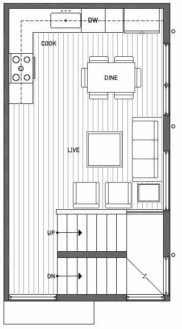 Second Floor Plan of 1111 E Howell St of the Wyn Townhomes