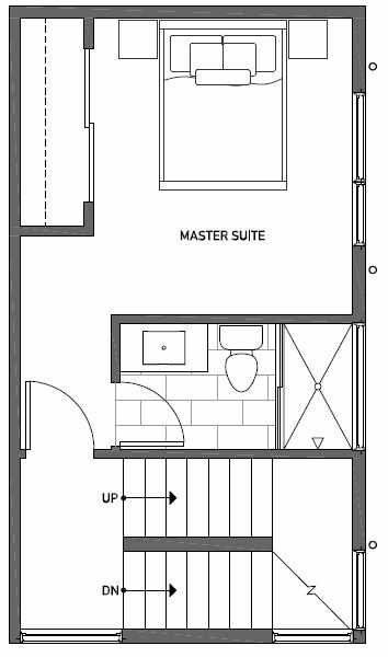 Third Floor Plan of 1111 E Howell St of the Wyn Townhomes