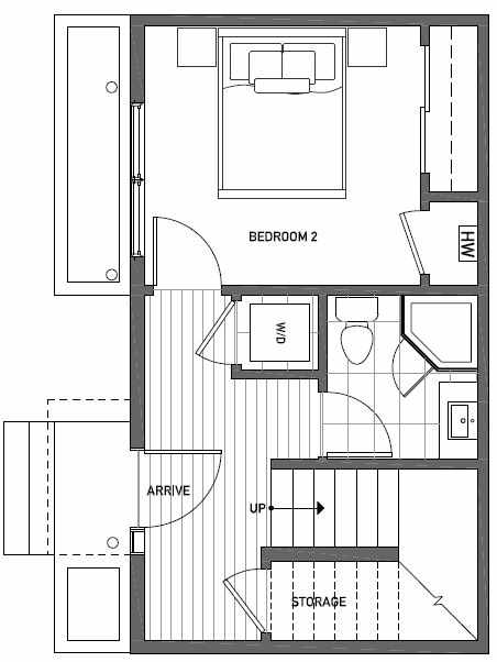 First Floor Plan of 1113 E Howell St of the Wyn Townhomes