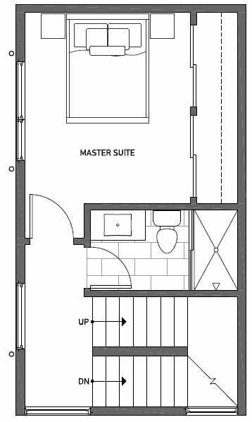 Third Floor Plan of 1113 E Howell St of the Wyn Townhomes