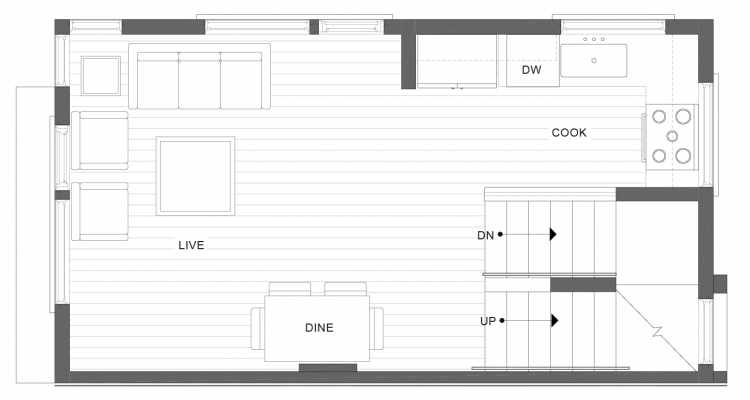 Second Floor Plan of 1113A 14th Ave in the Corazon Townhomes
