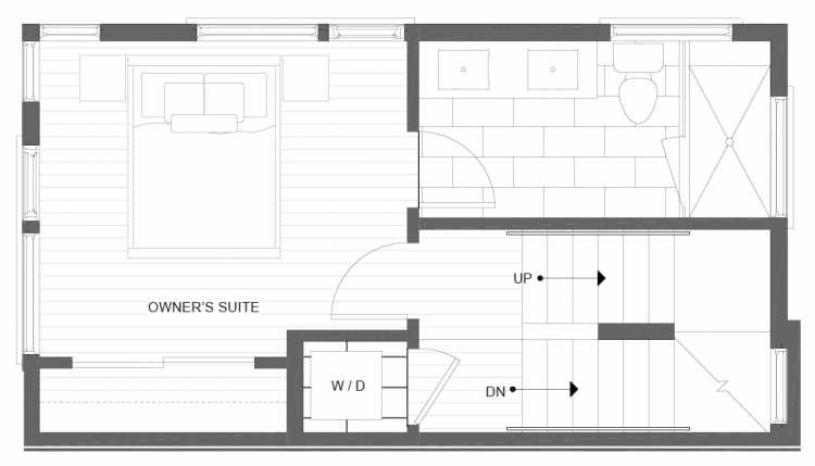 Third Floor Plan of 1113A 14th Ave in the Corazon Townhomes