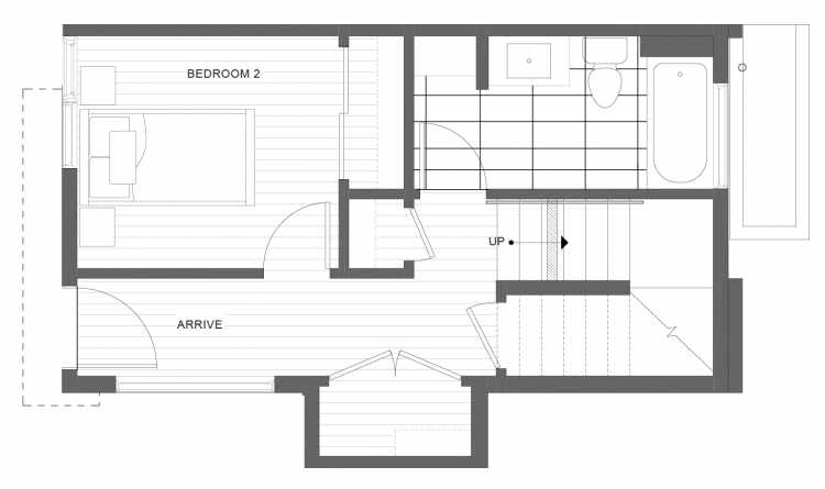 First Floor Plan of 1113D 14th Ave in the Corazon Townhomes