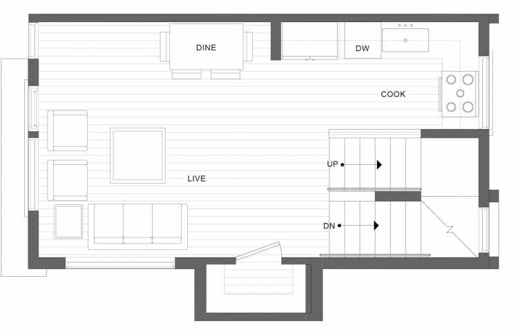Second Floor Plan of 1113B 14th Ave in the Corazon Townhomes