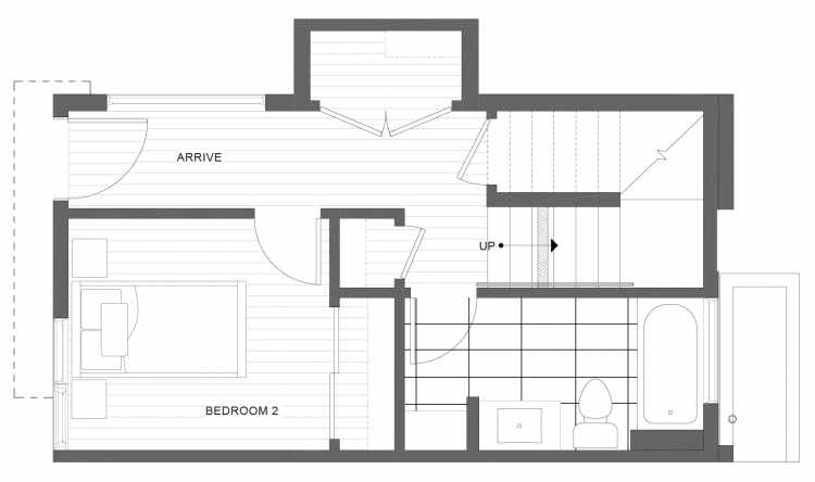 First Floor Plan of 1113C 14th Ave in the Corazon Townhomes