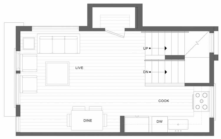 Second Floor Plan of 1113C 14th Ave in the Corazon Townhomes