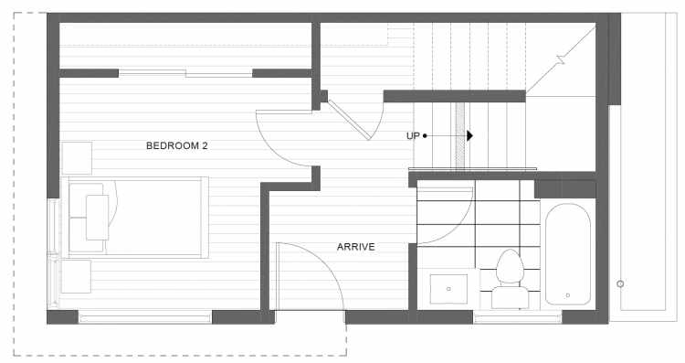 First Floor Plan of 1113F 14th Ave in the Corazon Townhomes