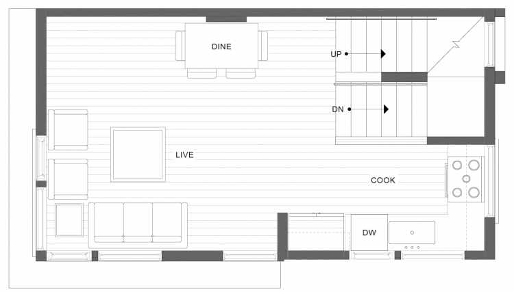 Second Floor Plan of 1113F 14th Ave in the Corazon Townhomes