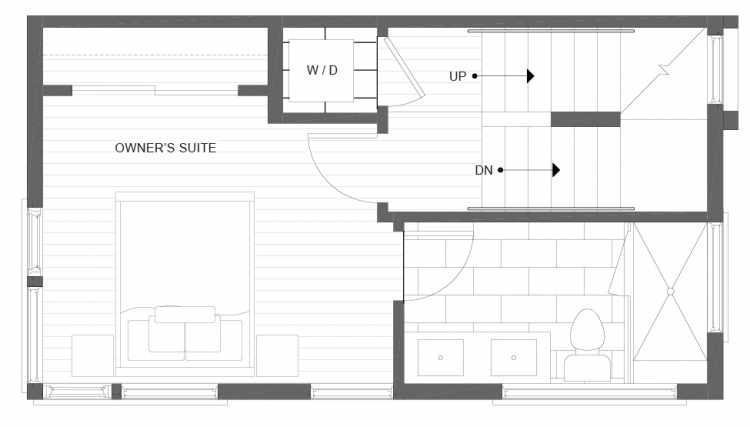 Third Floor Plan of 1113F 14th Ave in the Corazon Townhomes