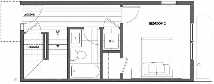 First Floor Plan of 1115 E Howell St of the Wyn Townhomes