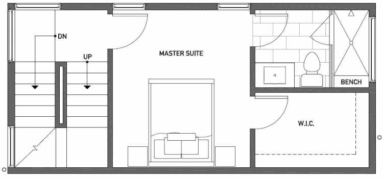 Third Floor Plan of 1115 E Howell St of the Wyn Townhomes