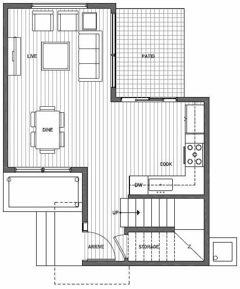 First Floor Plan of 1117 E Howell St of the Wyn Townhomes