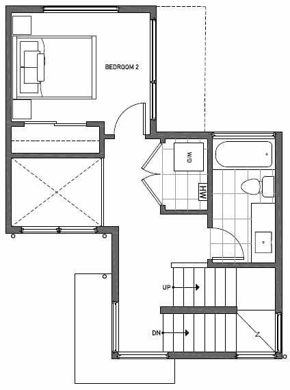 Second Floor Plan of 1117 E Howell St of the Wyn Townhomes