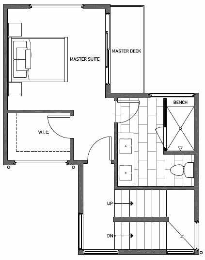 Third Floor Plan of 1117 E Howell St of the Wyn Townhomes