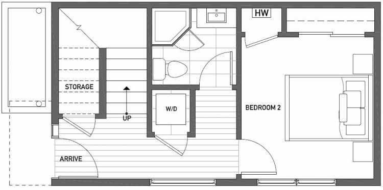 First Floor Plan of 1119 E Howell St of the Wyn Townhomes