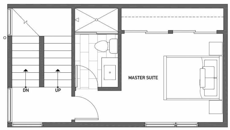 Third Floor Plan of 1119 E Howell St of the Wyn Townhomes