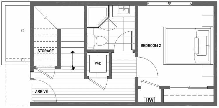 First Floor Plan of 1121 E Howell St of the Wyn Townhomes