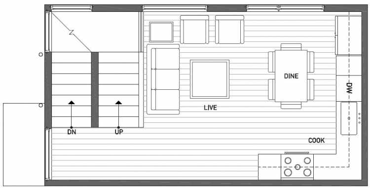 Second Floor Plan of 1121 E Howell St of the Wyn Townhomes