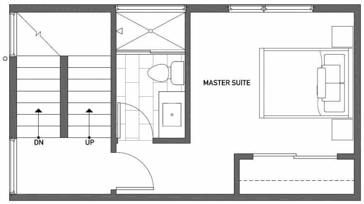 Third Floor Plan of 1121 E Howell St of the Wyn Townhomes