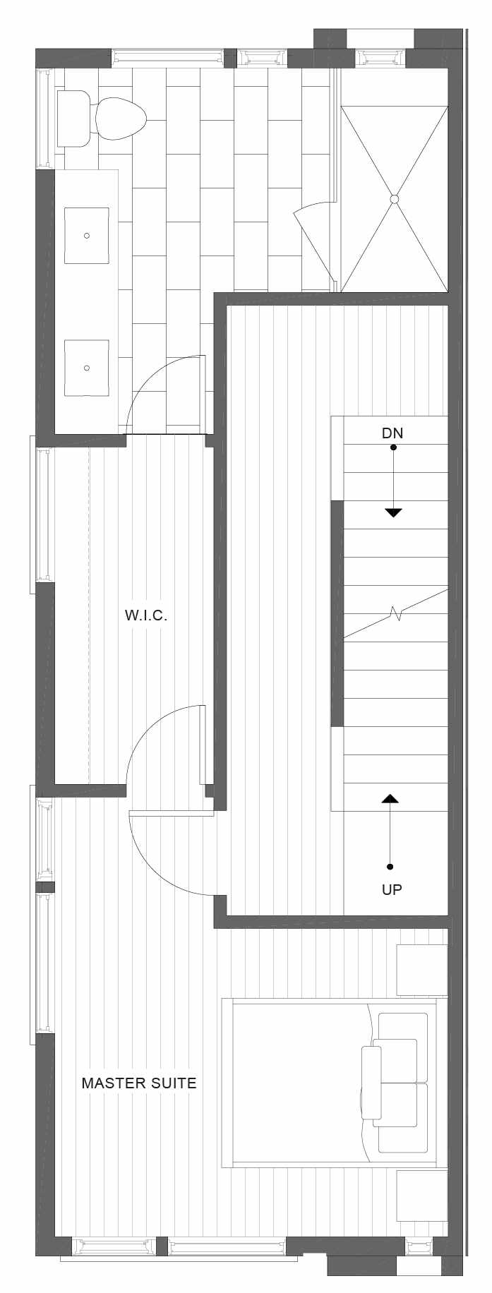 Third Floor Plan of 1320 E Spring St of the Corazon II Townhomes