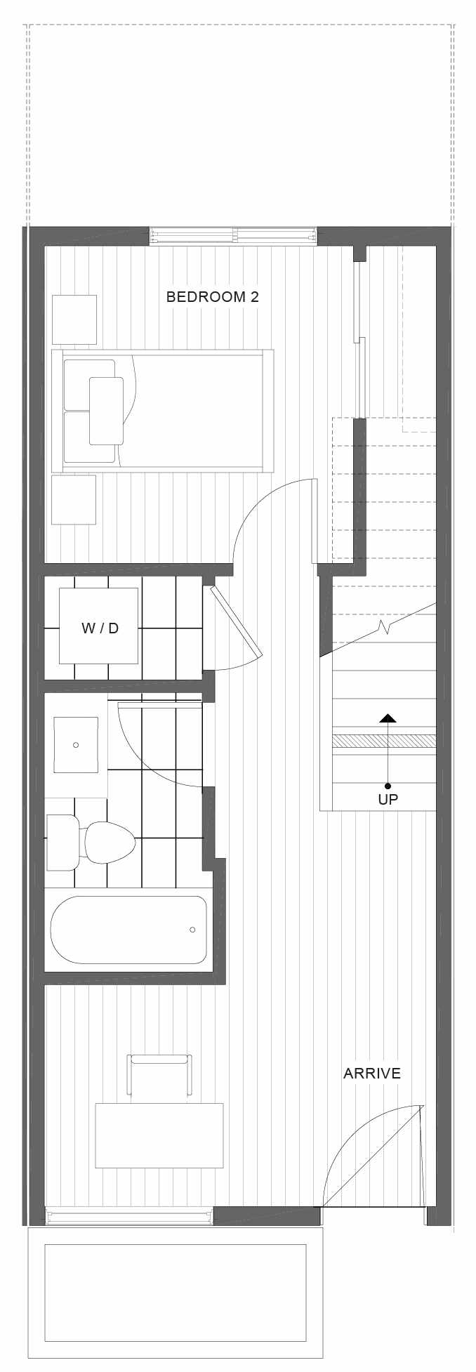 First Floor Plan of 1328 E Spring St in the Corazon Townhomes in Capitol Hill