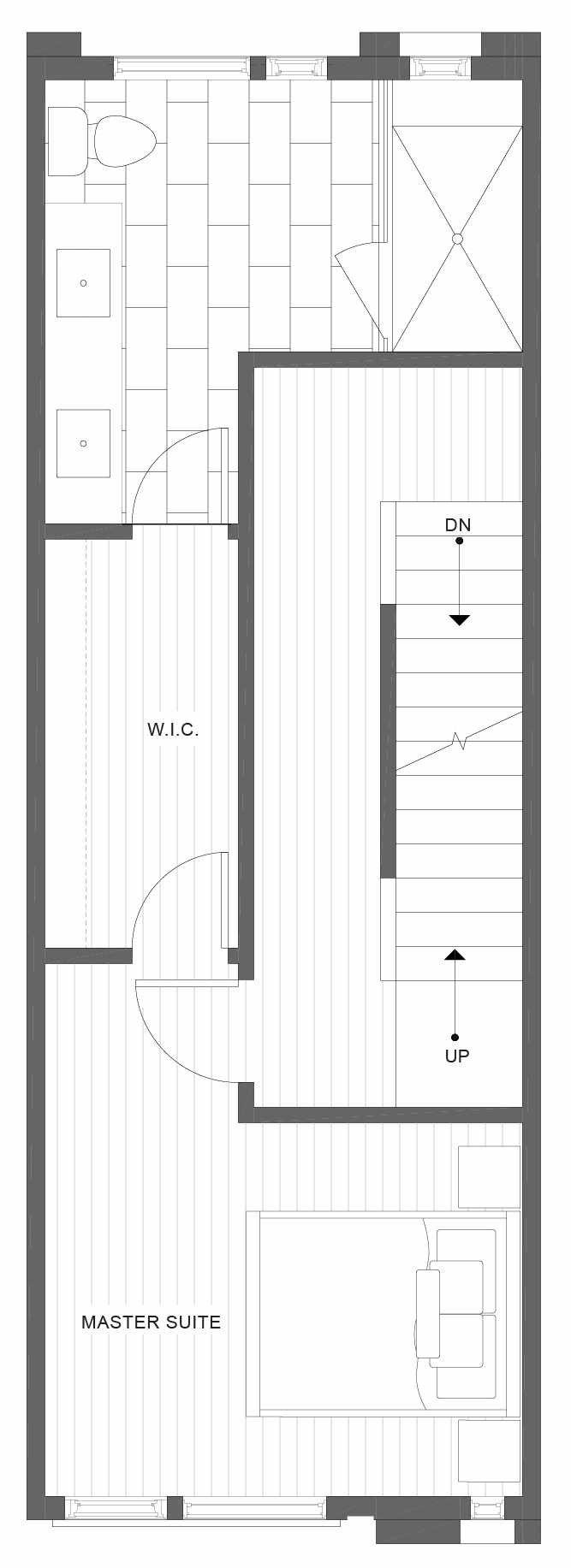 Third Floor Plan of 1324 E Spring St of the Corazon II Townhomes