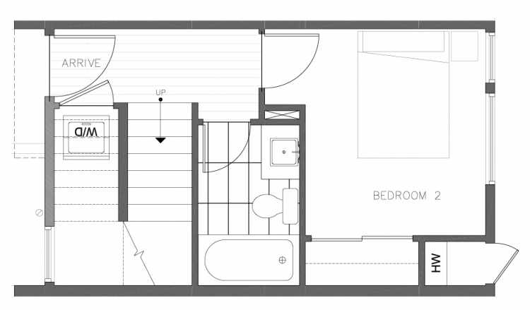 First Floor Plan of 1323 NW 85th St in the Thoren Townhomes
