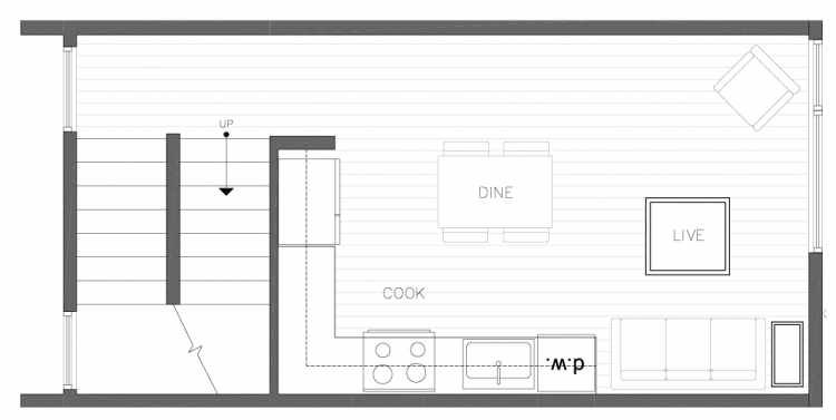 Second Floor Plan of 1327 NW 85th St in the Thoren Townhomes