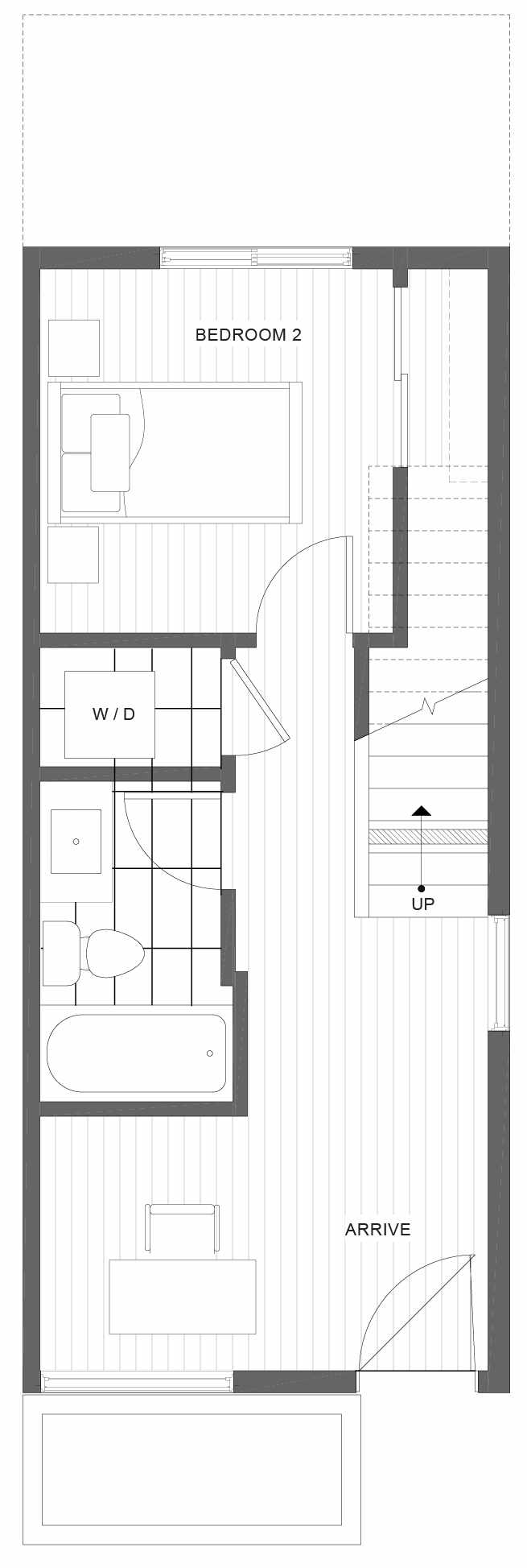 First Floor Plan of 1330 E Spring St in the Corazon Townhomes in Capitol Hill