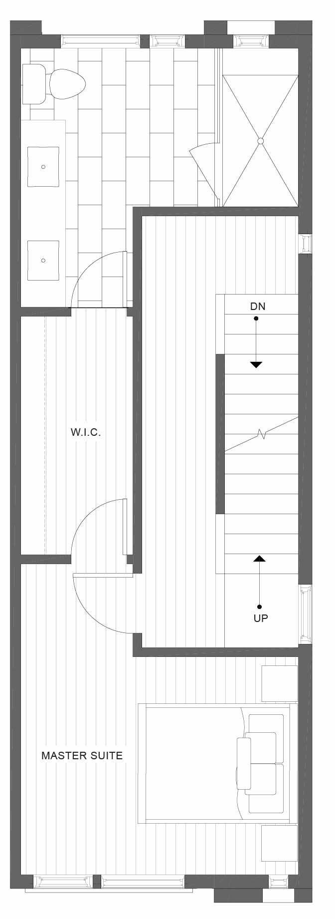 Third Floor Plan of 1330 E Spring St of the Corazon II Townhomes