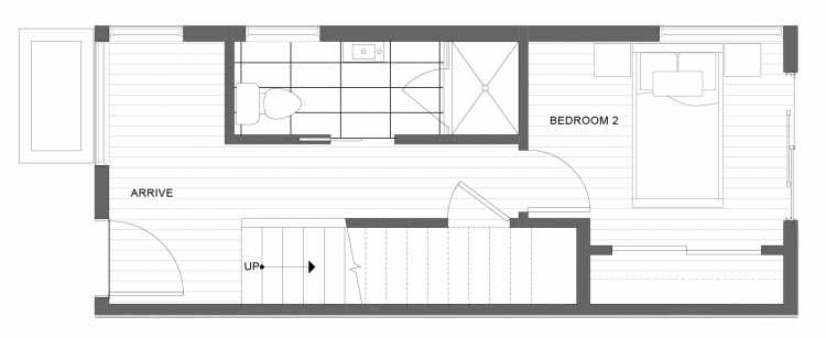 First Floor Plan of 1332 E Spring St in the Corazon Townhomes