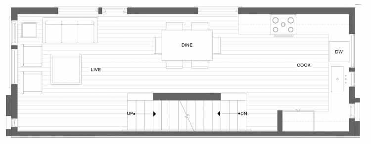 Second Floor Plan of 1332 E Spring St in the Corazon Townhomes