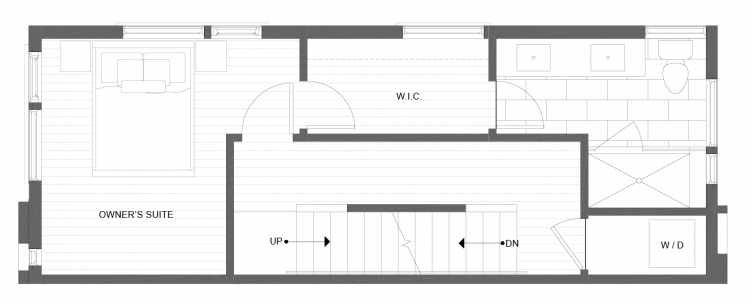 Third Floor Plan of 1332 E Spring St in the Corazon Townhomes