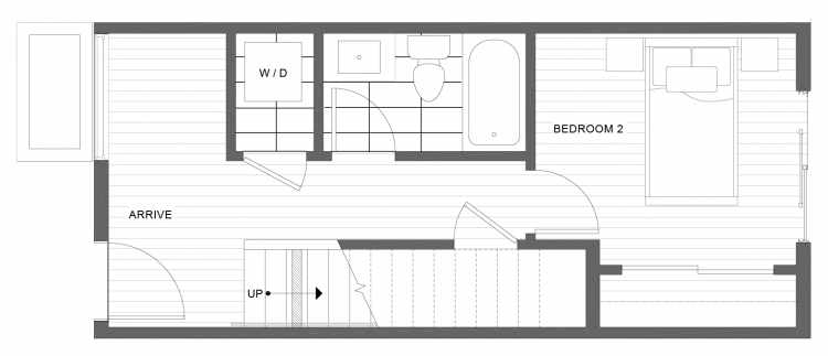 First Floor Plan of 1334 E Spring St in the Corazon Townhomes