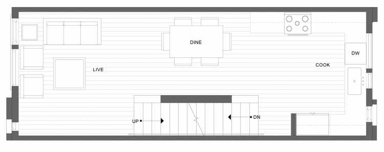 Second Floor Plan of 1334 E Spring St in the Corazon Townhomes