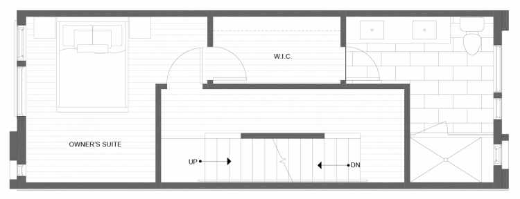 Third Floor Plan of 1334 E Spring St in the Corazon Townhomes