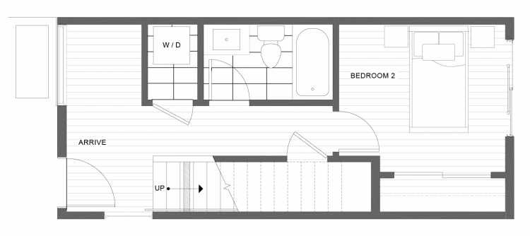 First Floor Plan of 1338 E Spring St in the Corazon Townhomes