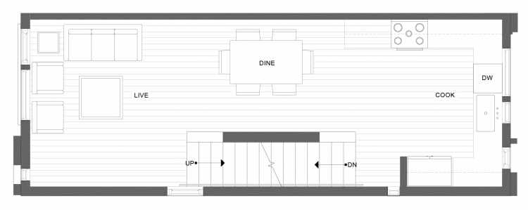 Second Floor Plan of 1338 E Spring St in the Corazon Townhomes