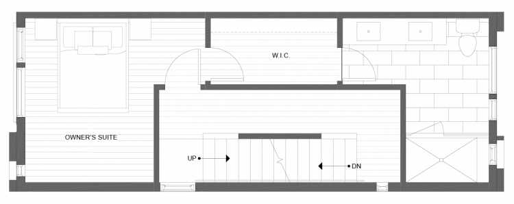 Third Floor Plan of 1338 E Spring St in the Corazon Townhomes