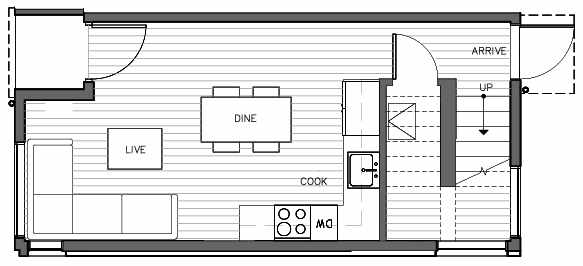 First Floor Plan of 1415 E Harrison St, One of the Mika Townhomes in Capitol Hill by Isola Homes