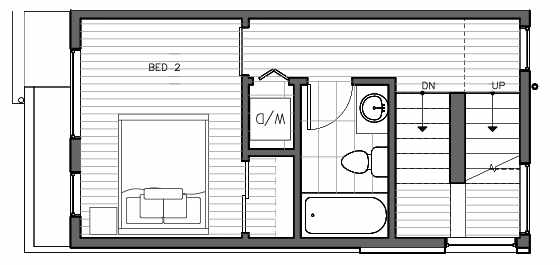 Second Floor Plan of 1415 E Harrison St, One of the Mika Townhomes in Capitol Hill by Isola Homes