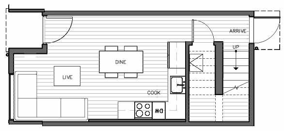 First Floor Plan of 1419 E Harrison St, One of the Mika Townhomes in Capitol Hill by Isola Homes