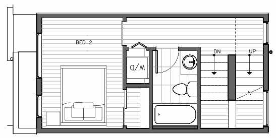 Second Floor Plan of 1417 E Harrison St, One of the Mika Townhomes in Capitol Hill by Isola Homes