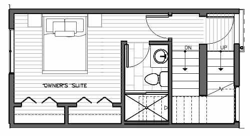 Third Floor Plan of 1417 E Harrison St, One of the Mika Townhomes in Capitol Hill by Isola Homes