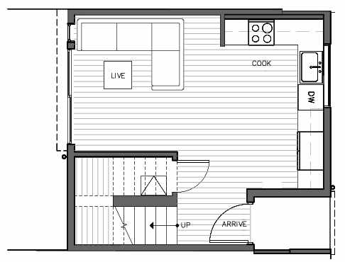 First Floor Plan of 1421 E Harrison St, One of the Mika Townhomes in Capitol Hill by Isola Homes