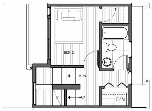 Second Floor Plan of 1421 E Harrison St, One of the Mika Townhomes in Capitol Hill by Isola Homes