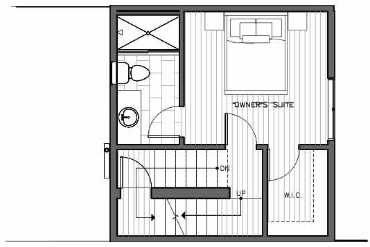 Third Floor Plan of 1421 E Harrison St, One of the Mika Townhomes in Capitol Hill by Isola Homes