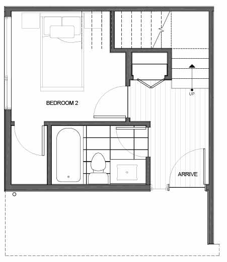 First Floor Plan of 14335A Stone Ave N, One of the Maya Townhomes in Haller Lake